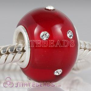 Kerastyle red Glass Bead with Austrian crystal