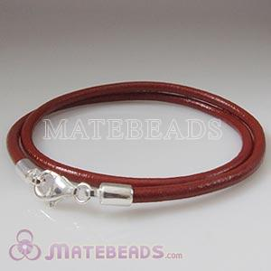 40cm red slippy European double leather bracelet sterling lobster clasp