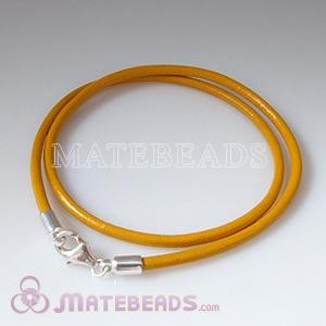 44cm yellow slippy European leather necklace sterling lobster clasp