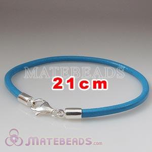 21cm blue slippy European leather bracelet sterling lobster clasp
