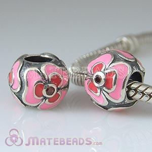 European Enamel Flower Beads with Red Stone