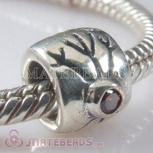 European Sterling Snowflake Bead with brown CZ