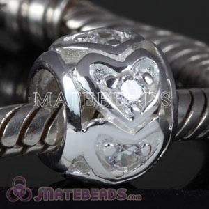 Sterling silver love bead with white stones