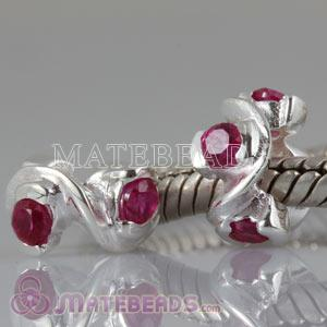 Wholesale European charms with red stone