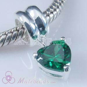 European style charm with green zircons