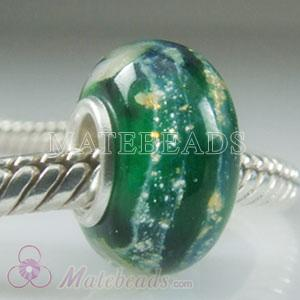 Green galaxy Lampwork glass beads