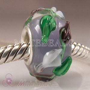 Grey Lampwork glass leaf beads