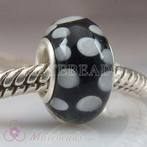 Grey and black Polka Dot Lampwork glass beads