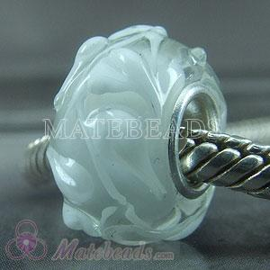 white European glass beads with 925 silver core