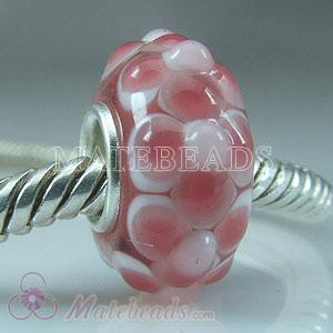 Pink dots flowers Lampwork glass beads
