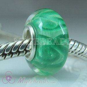 Lampwork Style green Glass Beads and Charms