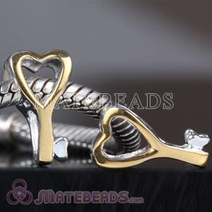 Gold Plated silver Key charm beads