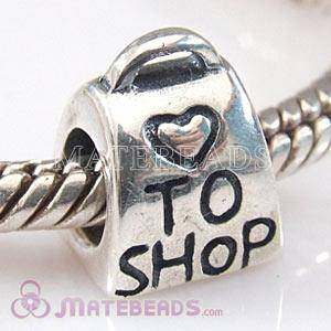 Love To Shop Bag Charm Bead Fits European Beads