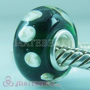 Green Lampwork glass pebbles beads