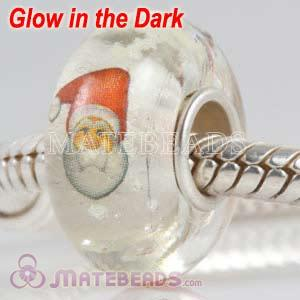 Lampwork Glass Printed Santa Claus Fluorescent Bead fit European Largehole Jewelry Bracelets