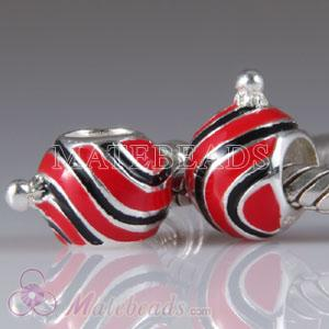 Largehole Jewelry Christmas Glitter Stripes Ornament Charm Beads