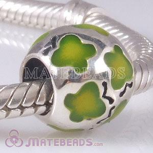 European Butterfly Bead with Green Enamel