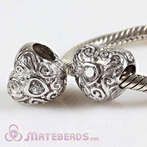 Wholesale sterling Largehole Jewelry love beads with stone