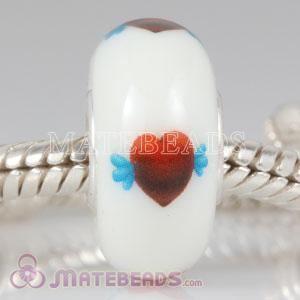 Lampwork Glass Painted Heart with Wing Bead fit European Largehole Jewelry Bracelets