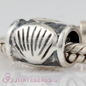 antique silver shell beads