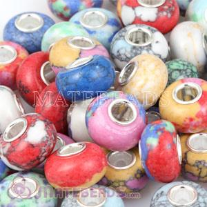Mix 50 Pcs Different Styles Color Stone Beads fit European bracelet