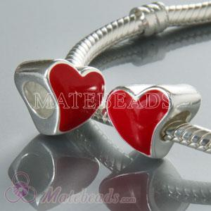 European enamel Heart Beads for European Heart