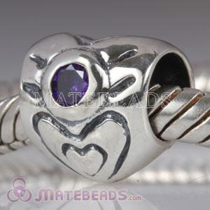 Sterling silver heart bead with June Birthstone Charms fit European Largehole Jewelry