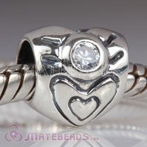 Sterling silver heart bead with April Birthstone Charms fit European Largehole Jewelry