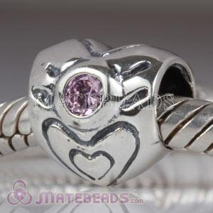 heart beads with February Birthstone Amethyst Charm fit European Largehole Jewelry