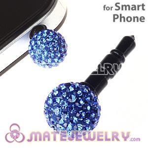 10mm Blue Czech Crystal Ball Earphone Jack Plug For iPhone Wholesale