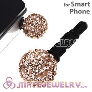 10mm Rose Czech Crystal Ball Earphone Jack Plug For iPhone Wholesale
