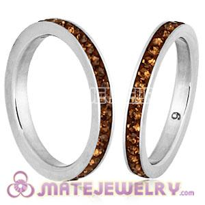 Fashion Unisex Stainless Stackable Finger Ring With Light Colorado Topaz Austrian Crystal
