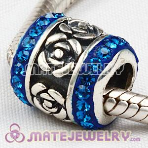 925 Sterling Silver Rose Flower Barrel Beads With Austrian Crystal