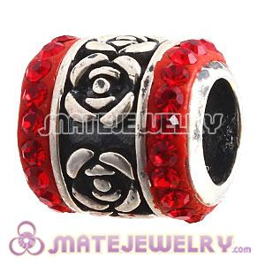 925 Sterling Silver Rose Flower Barrel Beads With Red Austrian Crystal