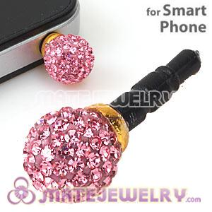 10mm Pink Czech Crystal Ball Plugy Headphone Jack Accessories