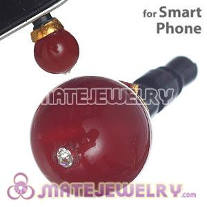 8mm Red Agate Mobile Earphone Jack Plug Fit iPhone