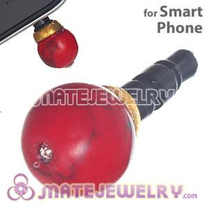 8mm Red Coral Mobile Earphone Jack Plug Fit iPhone
