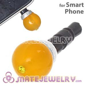 8mm Yellow Agate Mobile Earphone Jack Plug Fit iPhone