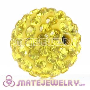 Wholesale Cheap Price 12mm Handmade Pave Yellow Crystal Beads