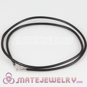 46cm Black Leather Necklace 925 Silver Clasp