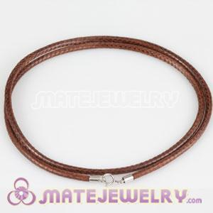 46cm Brown Leather Necklace 925 Silver Clasp