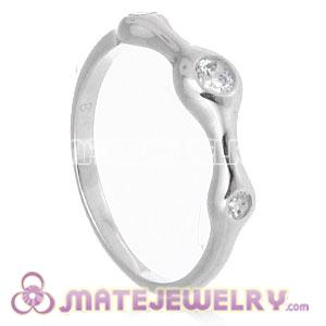 Platinum Plated Halo Ring Upon Ring With Austrian Crystal Diamond