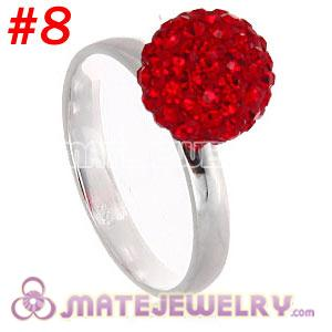 Wholesale 10mm Red Czech Crystal Ball 925 Sterling Silver Rings