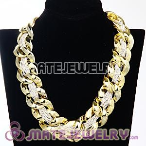Chunky Gold Interlocking Chain And White Chain Necklace Wholesale