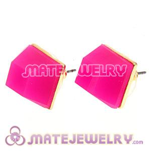 Gold Plated Magenta Cubic Jelly Resin Diamond Stud Earrings Wholesale