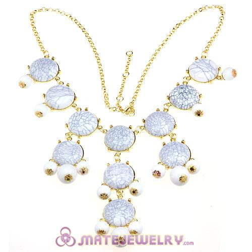 New Fashion White Turquoise Bubble Bib Statement Necklace