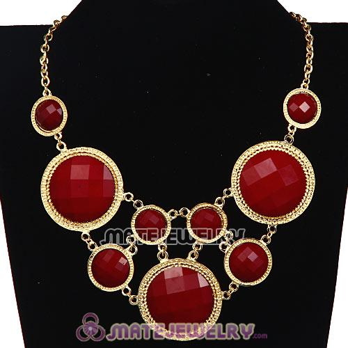 Red Coral Facets Resin Gem Choker Bib Necklaces Wholesale
