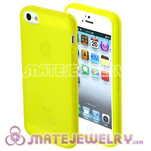 Ultra Slim Yellow Frosted Transparent Soft Rubber Cover Cases For iPhone5 Gen 5th 5G