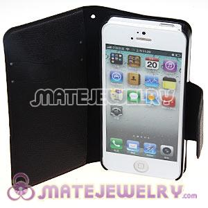 Black Lichee Pattern Credit ID Card Flip Leather Wallet Case For iPhone5