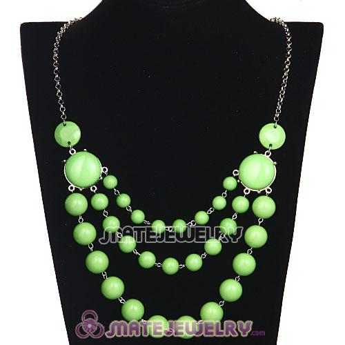 Fashion Silver Chains Three Layers Olivine Resin Bubble Bib Statement Necklace